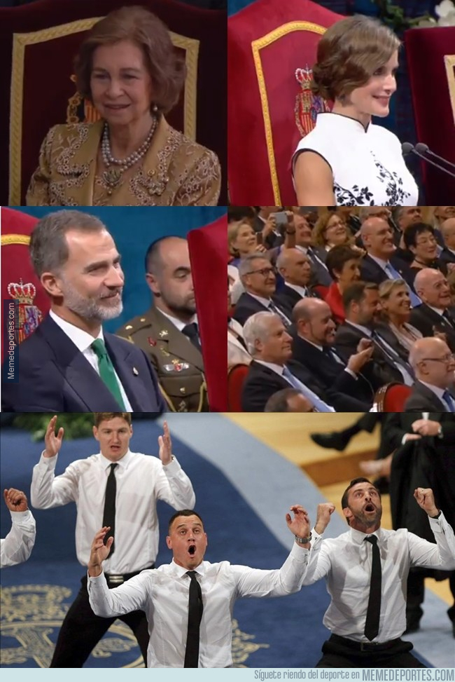 1004737 - Reacciones del auditorio tras la haka de los All-Blacks en la entrega del Príncipe de Asturias