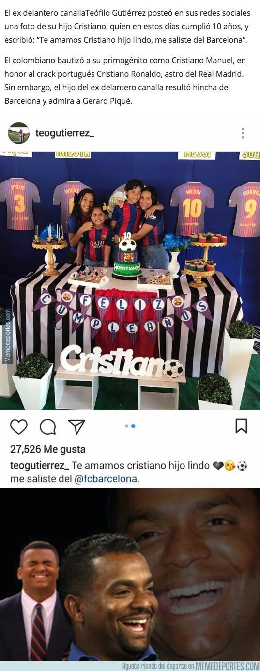 1004786 - El futbolista Teo Gutiérrez le pone este nombre madridista a su hijo y le sale culé