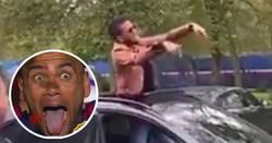 Enlace a Dani Alves sale de la nada y se pone a bailar dentro del coche con unos aficionados