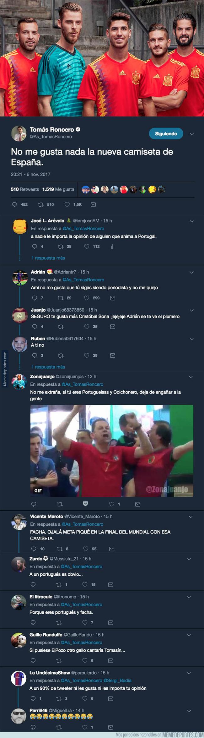 1006991 - Tomás Roncero carga contra la camiseta 'republicana' de la selección española y se echa Twitter encima