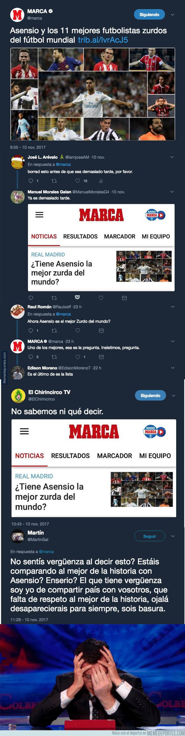 1007282 - MARCA pregunta si Asensio tiene la mejor zurda y Twitter no tiene piedad respondiéndo