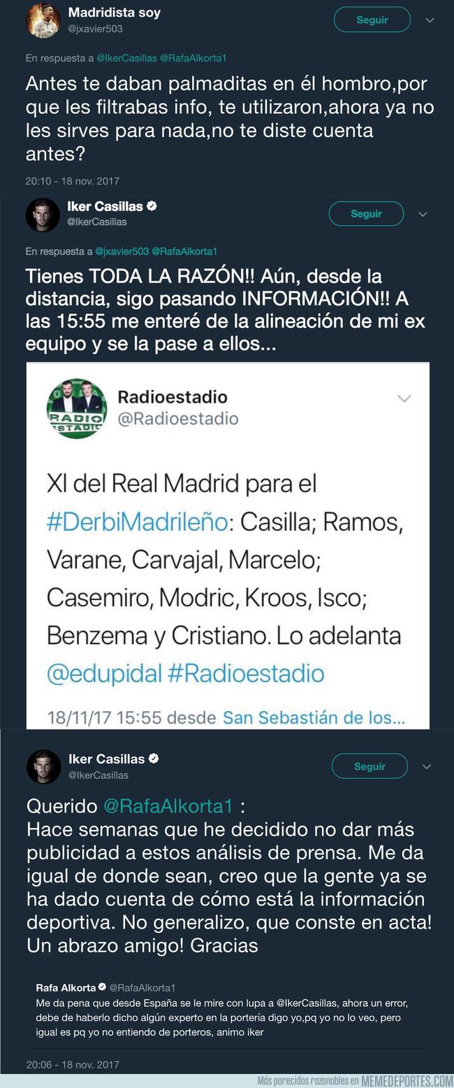 1008197 - El gran ZASCA de Casillas a un tuitero que le acusa de TOPO del Real Madrid