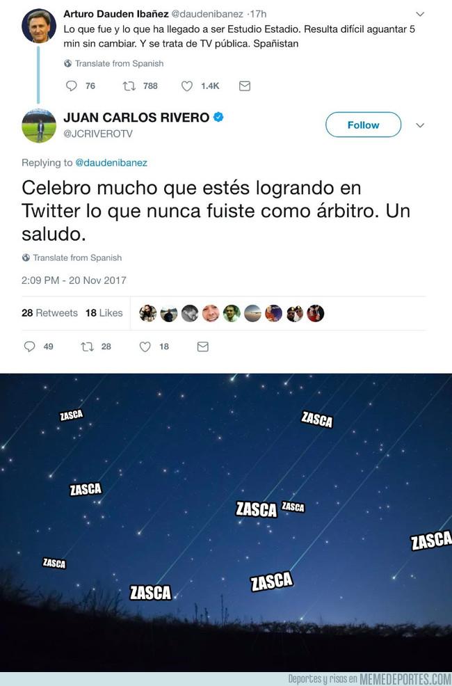 1008430 - El ex-árbitro Daudén Ibáñez raja de Estudio Estadio y el presentador del mismo le pega este repaso
