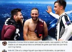 Enlace a Todo el mundo piensa lo mismo de Higuaín en la foto que subió Messi tras el partido