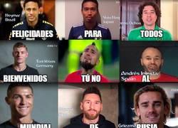 Enlace a Futbolistas de todo el mundo anunciando el mundial