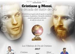 Enlace a Cristiano y Messi en el Balón de Oro los últimos 10 años. (Goles y Títulos)