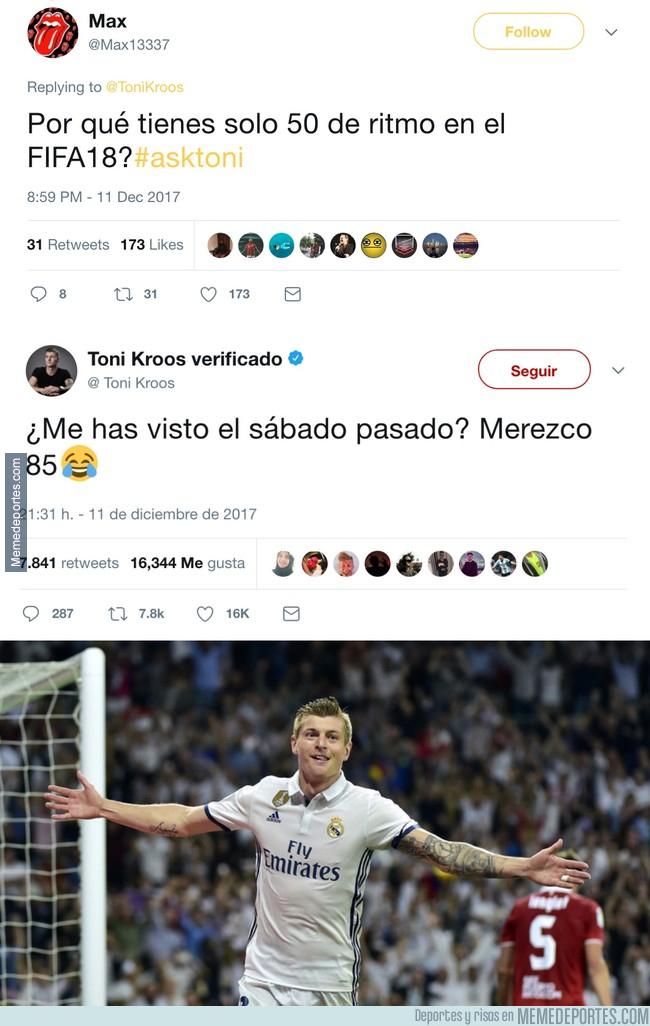 1011769 - Le preguntan a Kroos en Twitter por qué es tan lento en el FIFA 18 y su respuesta es épica