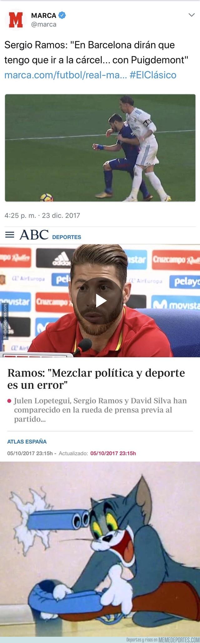 1013457 - Sergio Ramos mezcla el deporte con la política y se pega un autozasca monumental