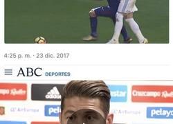 Enlace a Sergio Ramos mezcla el deporte con la política y se pega un autozasca monumental