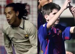 Enlace a Un canterano del Barça calca con 12 años un gol del mejor Ronaldinho