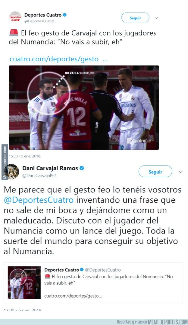 1014964 - Dani Carvajal manda a callar a los mentirosos de Deportes Cuatro