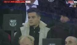 Enlace a La reacción de Philippe Coutinho a los 2 goles de Leo Messi en 2 minutos