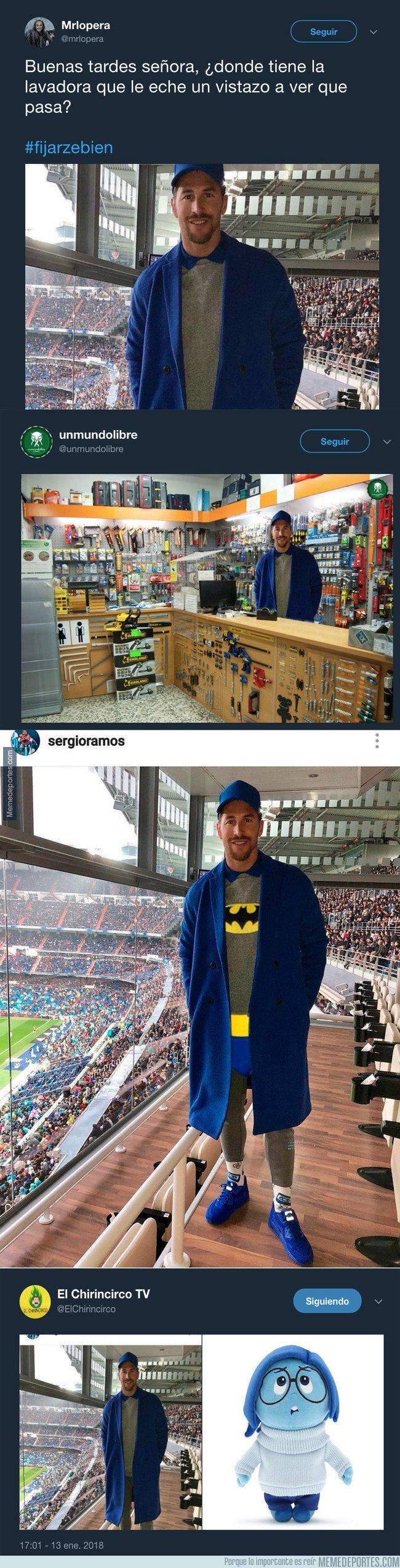 1016134 - Sergio Ramos acude al Bernabéu con este peculiar 'look' y todo internet se ríe de él