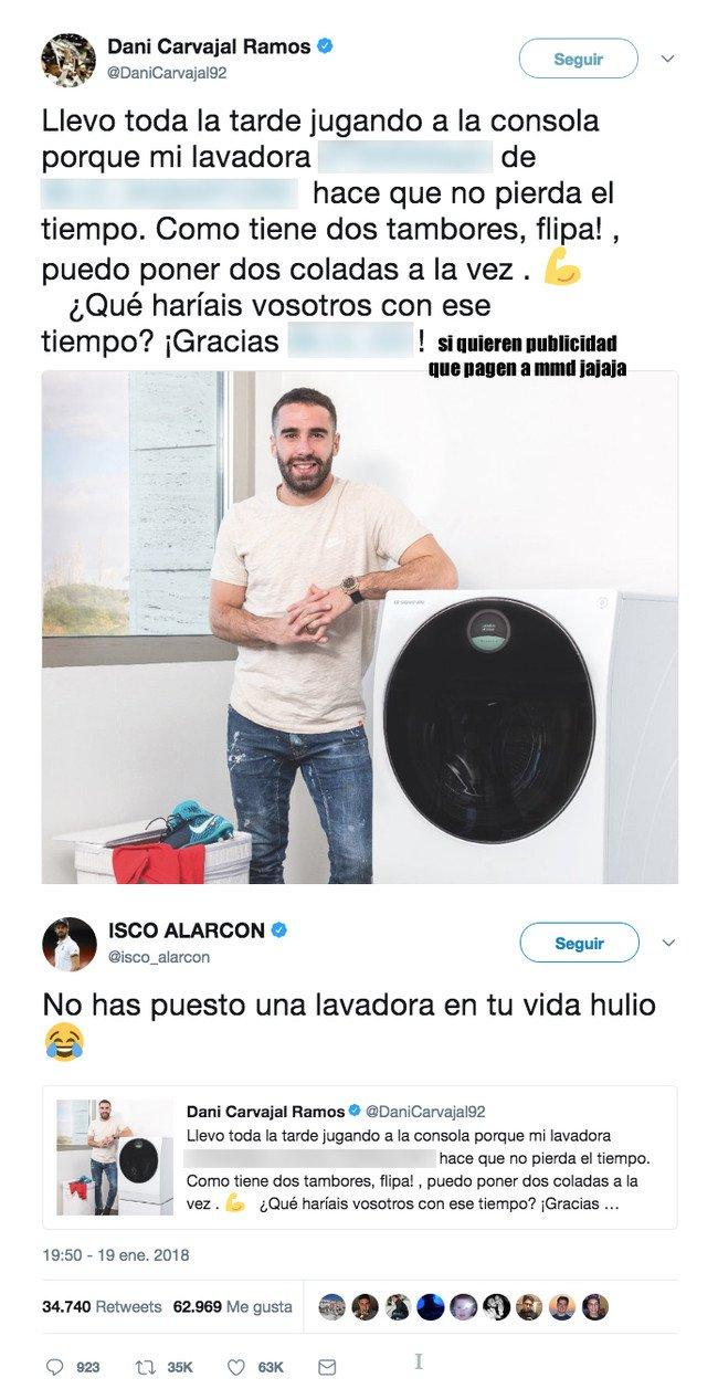 1017221 - Isco se mofa de Carvajal tras anunciar en Twitter una lavadora con una respuesta genial