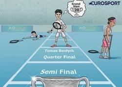 Enlace a Federer tiene el trofeo entre ceja y ceja
