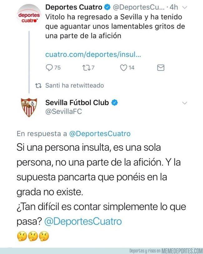 1018424 - Deportes Cuatro criticó a la afición del Sevilla y se llevó una curiosa lección de respeto