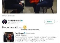 Enlace a Gran comentario de Héctor Bellerín respondiendo a Donald Trump