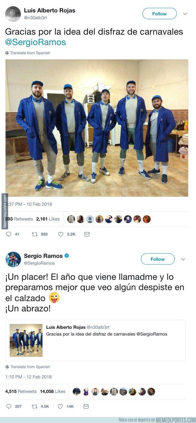 1021129 - Se disfrazan de Sergio Ramos en carnaval y el central les responde épicamente