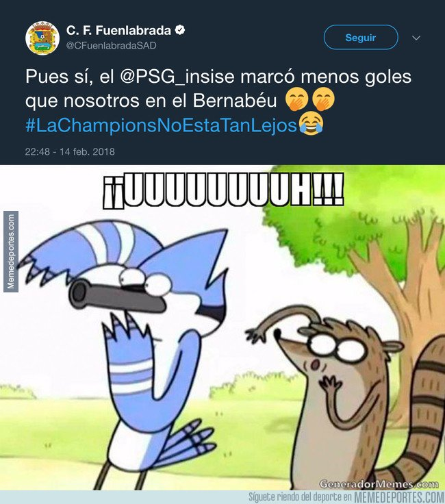1021487 - El Fuenlabrada trolea épicamente al PSG tras caer 3-1 contra el Real Madrid