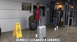 Enlace a Dembélé llegando a Londres