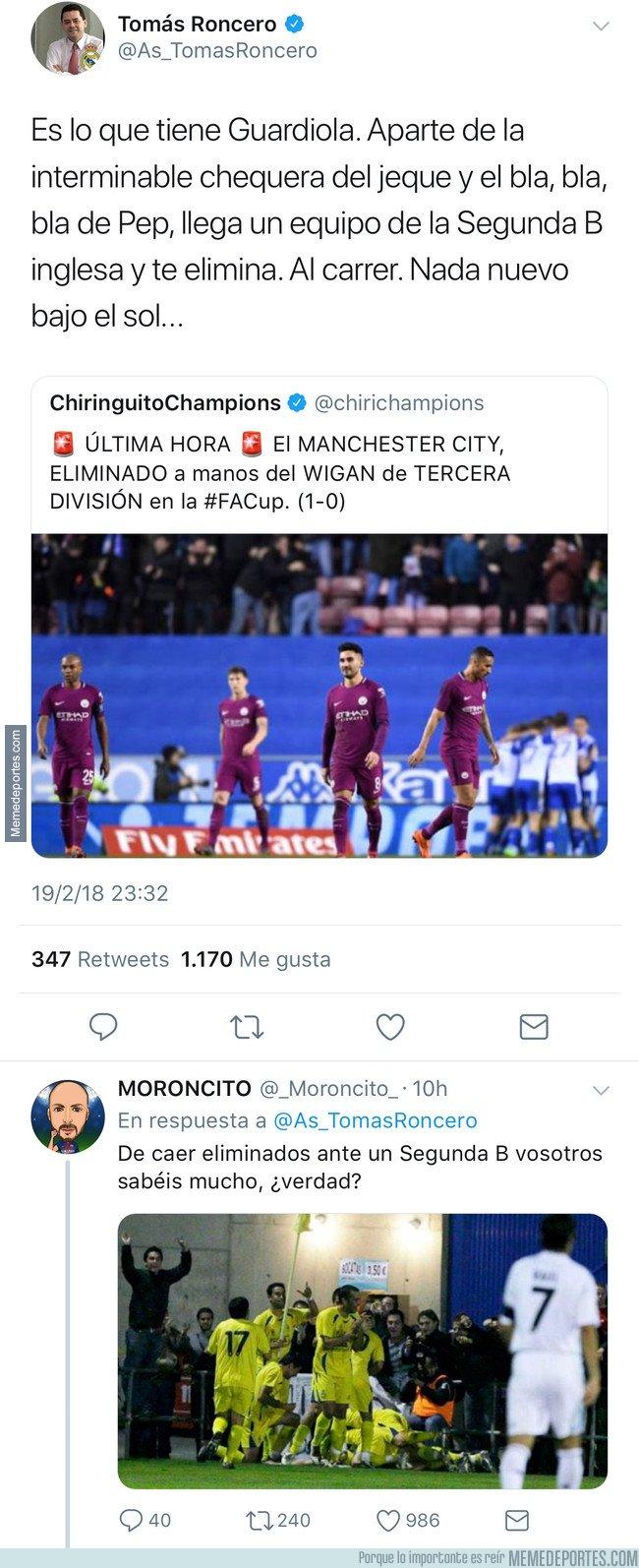 1022346 - Tomás Roncero se vuelve a reír de Guardiola, y le vuelven a mojar el hocico