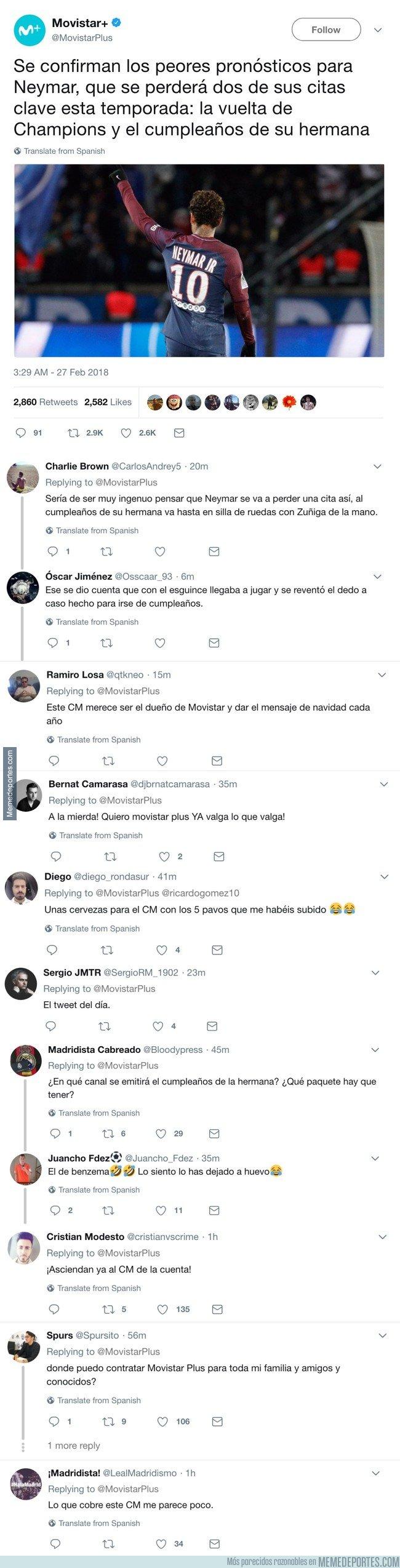 1023496 - El CM de Movistar se ensaña con Neymar y la hermana y todo Twitter se parte y le da su bendición