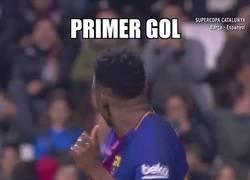 Enlace a Yerry Mina marca su primer gol y se marca un bailecito