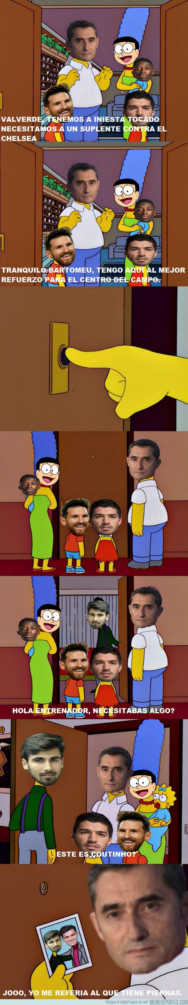 1025461 - Valverde buscando al suplente de Iniesta contra el Chelsea