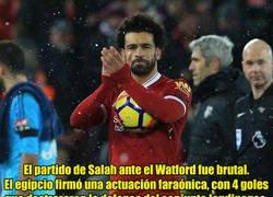 Enlace a Lo que Salah le dijo al portero del Watford tras marcarle 4 tantos