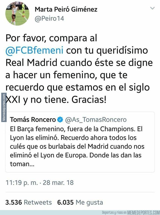 1027431 - Jugadora del Valencia Femenino le mete un zasca a Roncero