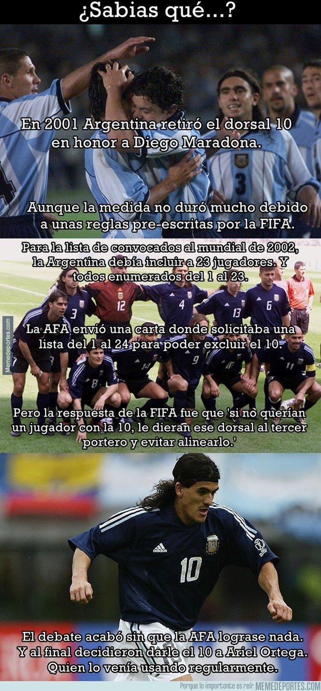1027914 - La anécdota de cuando Argentina retiró el dorsal nº10. Hoy Messi no podría llevarlo