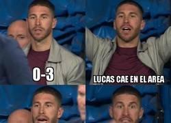 Enlace a Así reaccionó Ramos en los minutos finales