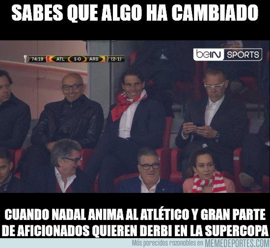 1032733 - Rafa Nadal, madridista, animando al Atlético de Madrid