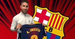 Enlace a Sergio Ramos se llevó la última camiseta de Iniesta en un Clásico... con esta dedicatoria
