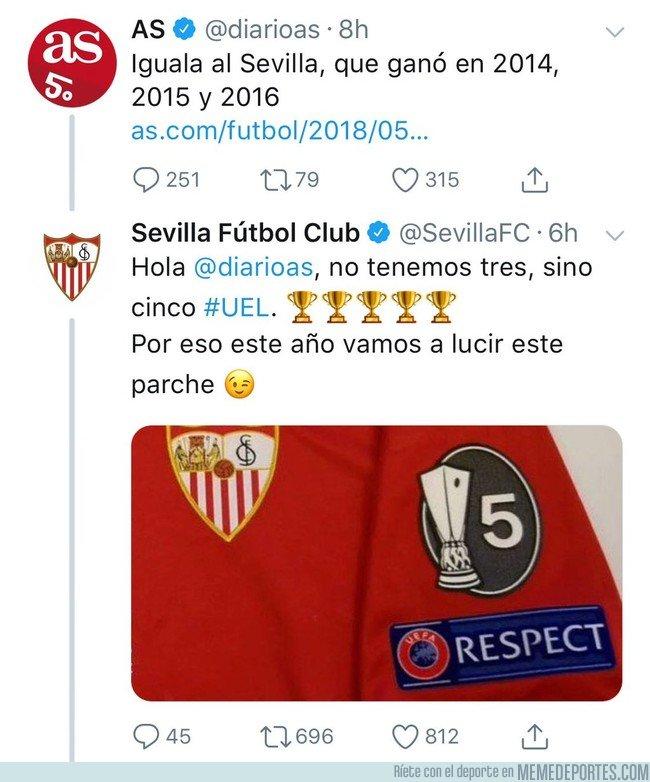 1034144 - La época dorada del periodismo, cuando el Sevilla tiene que recordarle al Diario AS cuántas Copas tienen