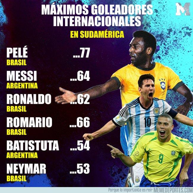 1036018 - Messi supera a Ronaldo y va por el récord de Pelé de máximo goleador en selecciones sudamericanas