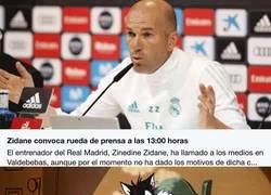 Enlace a Zidane convoca rueda de prensa a las 13