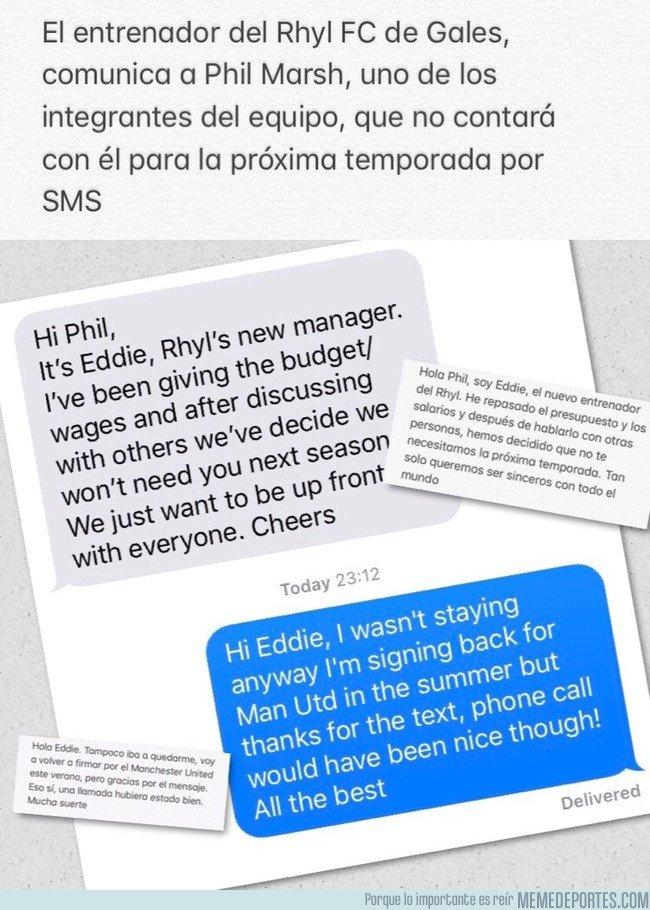 1036595 - Ex jugador del Manchester United da una brutal respuesta tras despido por SMS