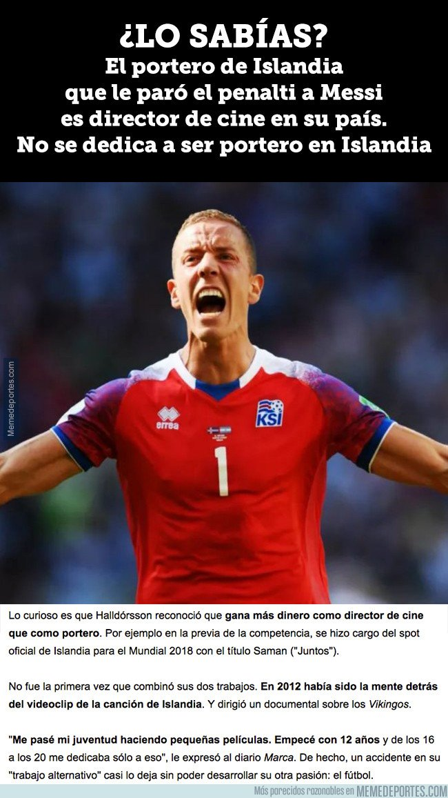 1038243 - Dato curioso del día sobre Halldorsson, el portero de Islandia que le ha parado un penalti a Messi