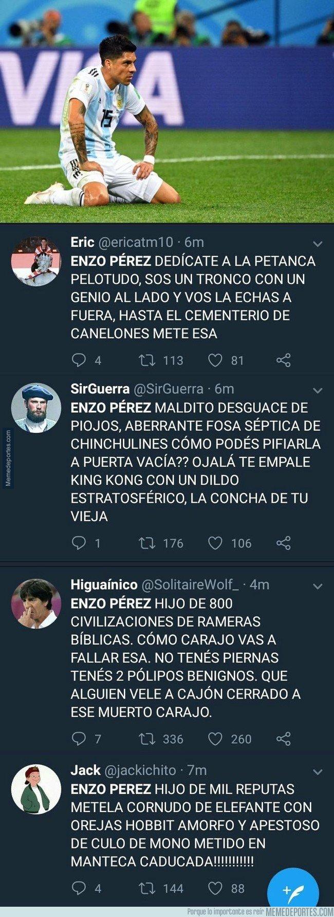 1039707 - Los insultos Argentinos a Enzo Perez después de haber fallado una ocasión sin portero