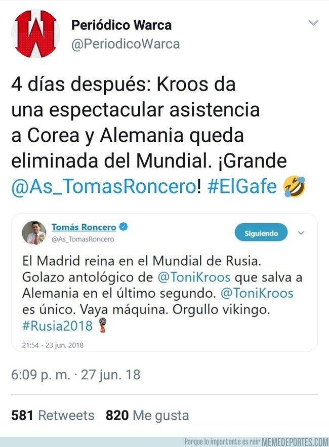 1041232 - La culpa de la eliminación de Alemania no es de nadie más, sino de Roncero después de este tweet