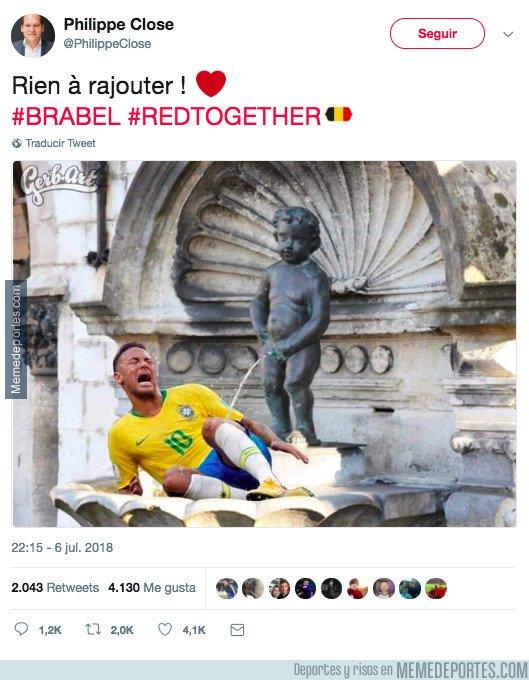 1044109 - El ofensivo tweet del alcalde de Bruselas riéndose de Neymar tras el Bélgica-Brasil