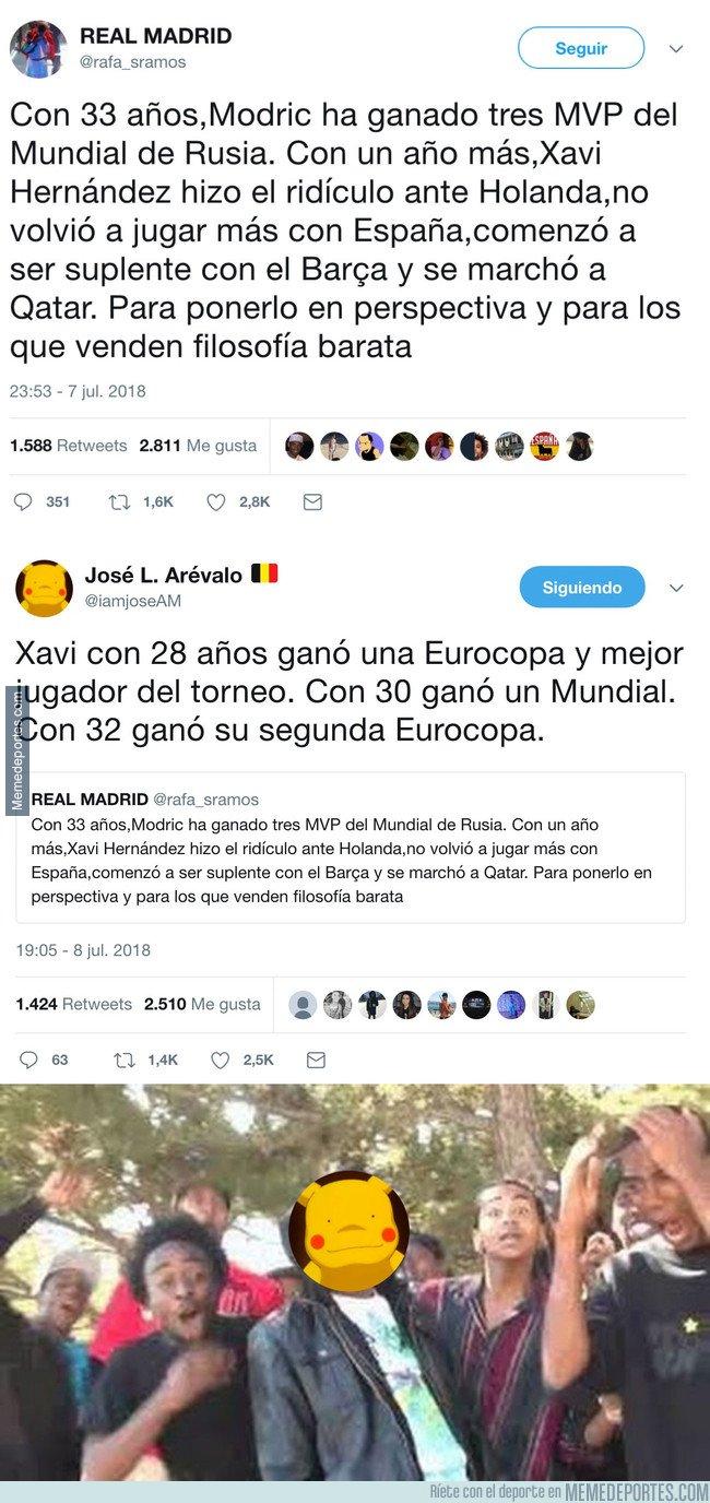 1044261 - Madridista ningunea a Xavi para alabar a Modric y se lleva el zasca de su vida