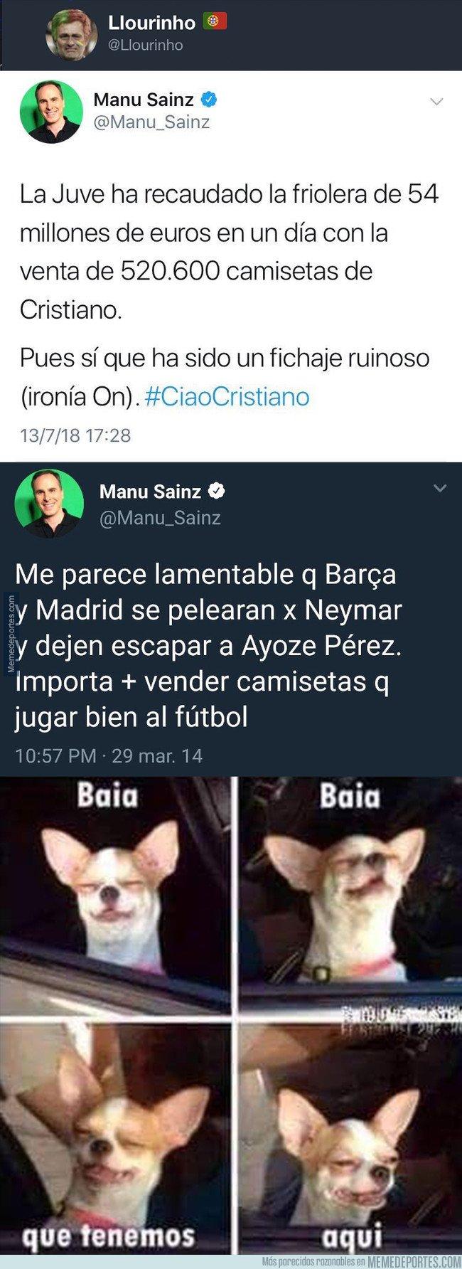 1045102 - La contradicción de Manu Sainz y las camisetas vendidas cuando se trata de Cristiano Ronaldo, por @Llourinho