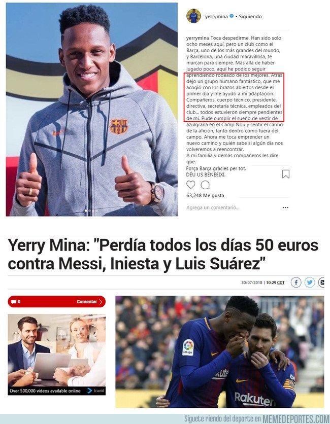1047302 - Todos sabemos que Mina se fue del Barcelona porque le hacían bullying y le quitaban el dinero