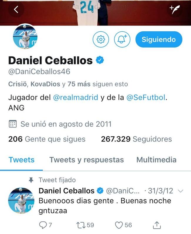1047647 - Dani Ceballos acepta su pasado y fija en su perfil un tweet de los suyos