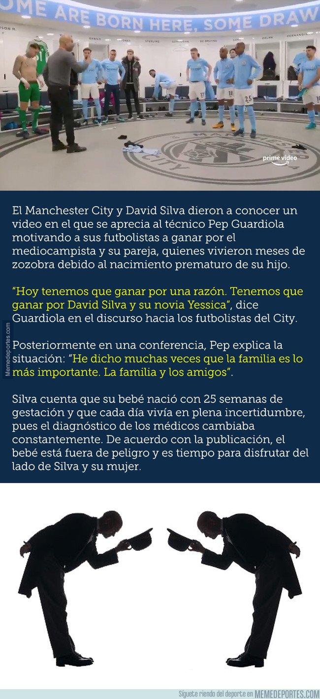 1047990 - Las emotivas palabras de Guardiola en su charla a todo el equipo en honor a Silva y su hijo