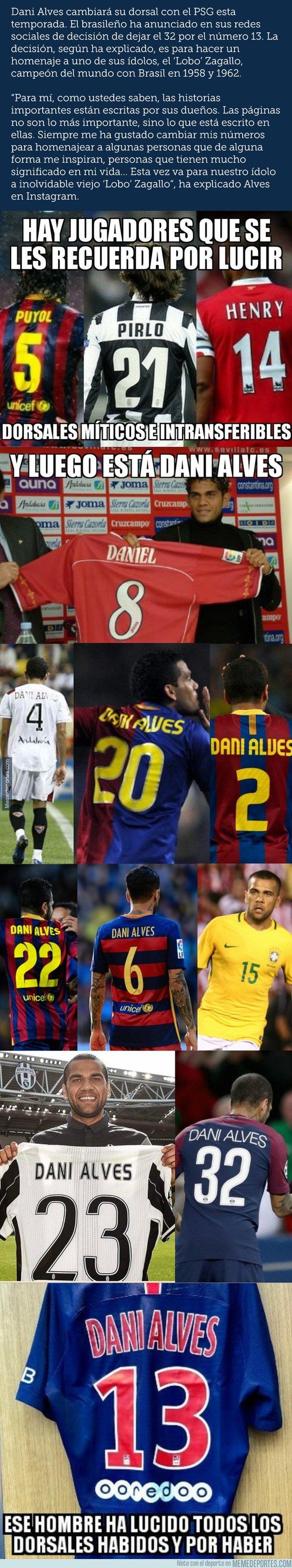 1048946 - Dani Alves, el hombre de los 1000 dorsales, ahora con el 13 del PSG