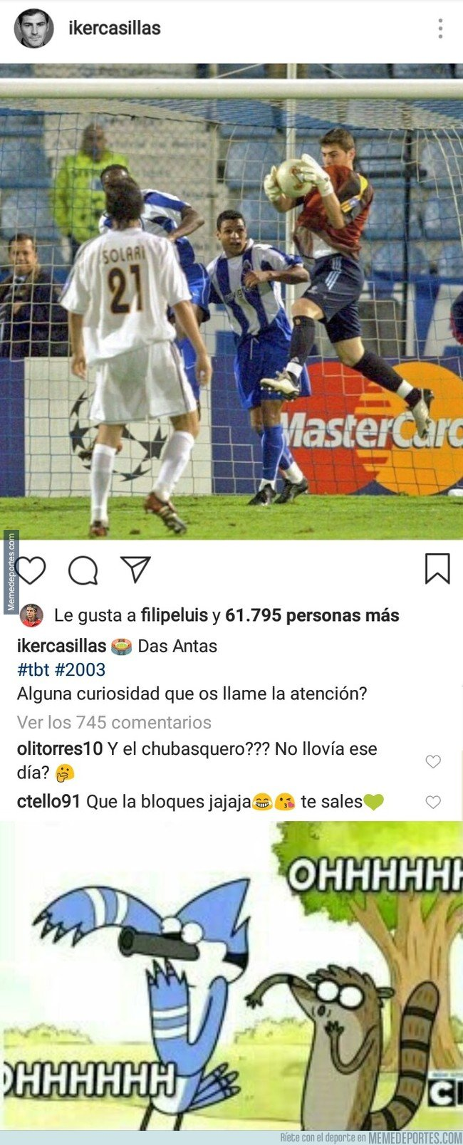 1055828 - Casillas sube una curiosa foto jugando contra su actual equipo y el Zasca que le mete Tello es más curioso aún