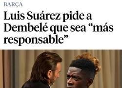 Enlace a Suárez es el último en darle un palo a Dembélé